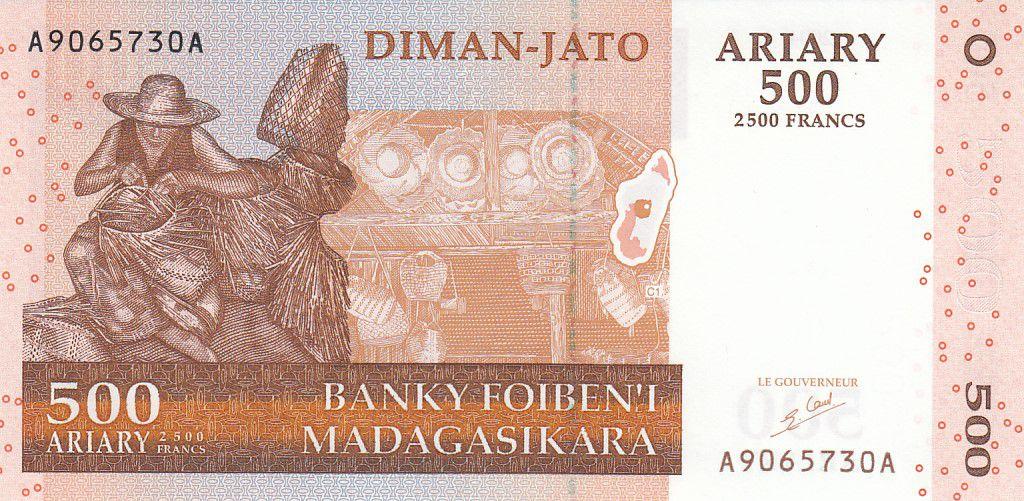 Madagascar 500 Ariary - Artisan - Animaux - 2004