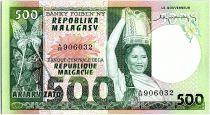 Madagascar 500 Francs - Jeune Femme - Papillon - 1974