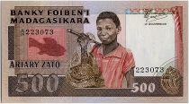 Madagascar 500 Francs - Young fisherman - Port - 1987