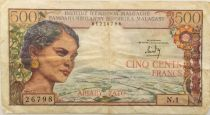 Madagascar 500 Francs Woman - ND (1966) Serial N.1 - F+