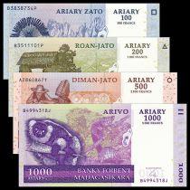 Madagascar Série 4 billets : 100, 200, 500, 1000 Ariary - 2004-2014 Neuf