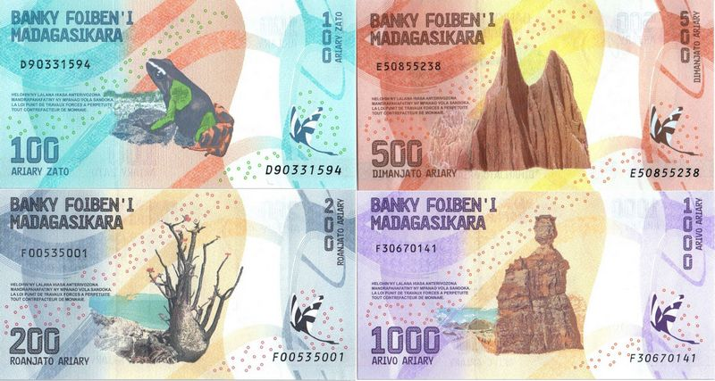 Madagascar Série 4 billets : 100, 200, 500, 1000 Ariary - 2017