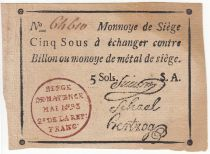 Mainz 5 Sols Black, red stamping in circle - Serial A May 1793