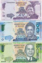 Malawi Série 3 billets  - 20, 200 et 1000 Kwacha 2012 à 2016