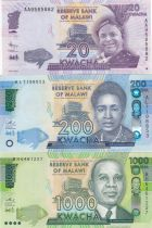 Malawi Set of 3 banknotes  -  20, 200 and 1000 Kwacha 2012 to 2016