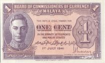 Malaya 1 Cent 1941 George VI, uniface