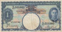 Malaya 1 Dollar  George VI - Armoiries - 1941 - Série G 42 - p.11