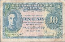 Malaya 10 Cents George VI - Uniface - 1941