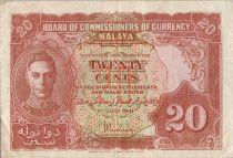 Malaya 20 Cents George VI - Armoiries - 1941