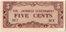 Malaya 5 Cents,  Japanese Government - 1942