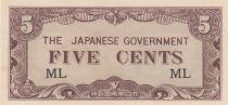 Malaya 5 Cents ND1942 - Japanese Government, occupation japonaise