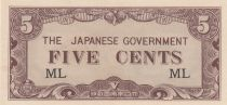 Malaya 5 Cents ND1942 - Japanese Government, occupation japonaise