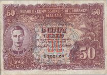Malaya 50 Cents George VI - Armoiries - 1941