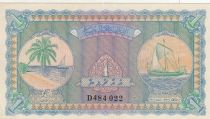 Maldives 1 Rufiyaa Dhaw - Bateau de pêche - 1960