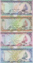 Maldives Série 4 billets  - 5, 10, 20 et 50 Rufiyaa - 1998 à 2000