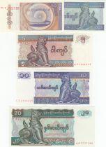 Maldives Série 5 billets  - 0.50, 1, 5, 10, 20 Kyats  - 1994 à 1997