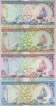 Maldives Set of 4 banknotes  -  5, 10, 20 and 50 Rufiyaa - 1998 to 2000