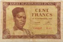 Mali 100 Francs Pdt Mobido Keita - Vaches - 1960 - TB