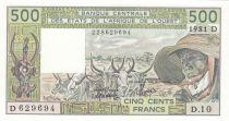 Mali 500 Francs Mali - Vieil homme et zébus - 1981 - Série D.10