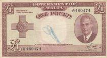 Malte 1 Pound L.1949 - George VI -  A/10 460474