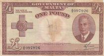 Malte 1 Pound L.1949 - George VI -  A/5 097926