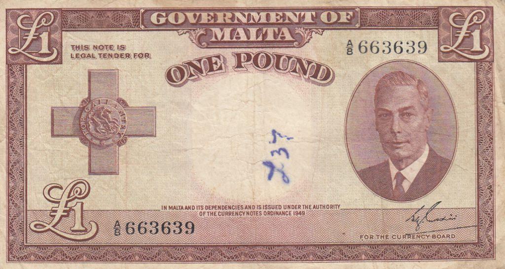 Malte 1 Pound L.1949 - George VI -  A/8 663639