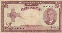 Malte 1 Pound L.1949 - George VI -  A/8 692874