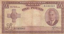 Malte 1 Pound L.1949 - George VI - A/13 543362