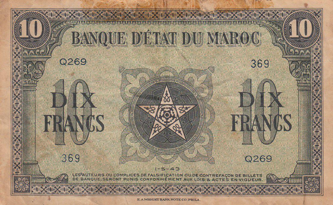 Maroc 10 Francs - 01-05-1943 - TB - Série Q.269- P.25a