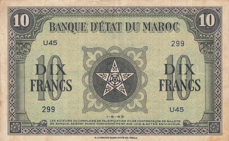 Maroc 10 Francs - 01-05-1943 - TTB - Série U.45 - P.25a