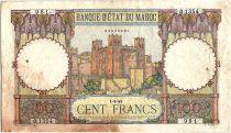 Maroc 100 Francs - Ksar d\'Aït-ben-haddou - 01-03-1945 - TTB - Série O.1354 - P.20