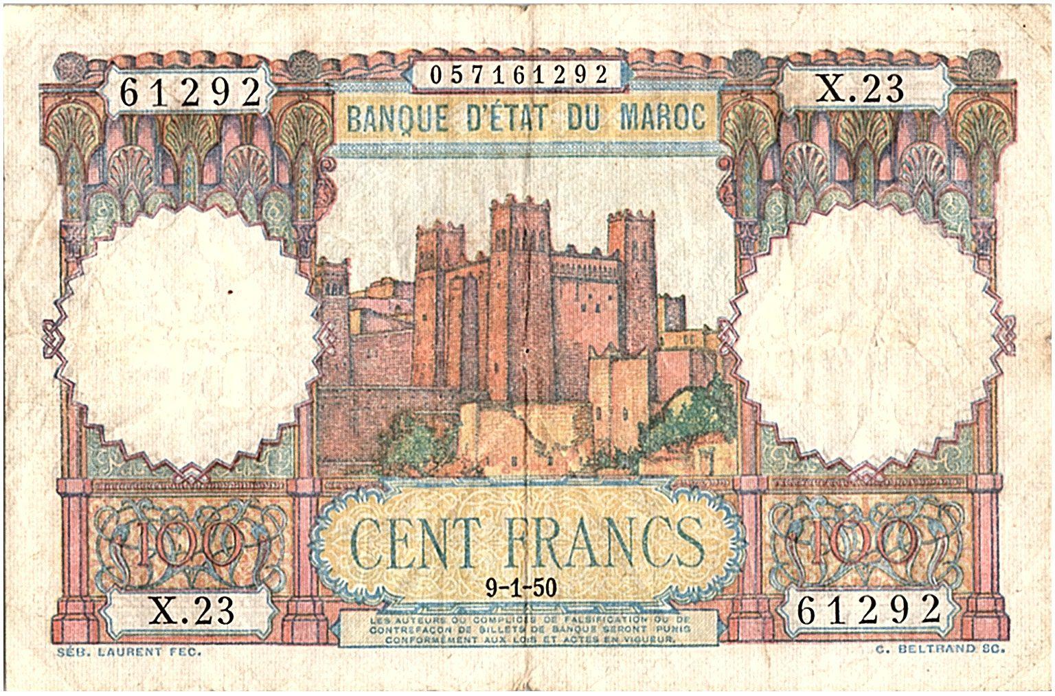 Maroc 100 Francs - Ksar d\'Aït-ben-haddou - 09-01-1950 - TTB - Série X.23 - P.45