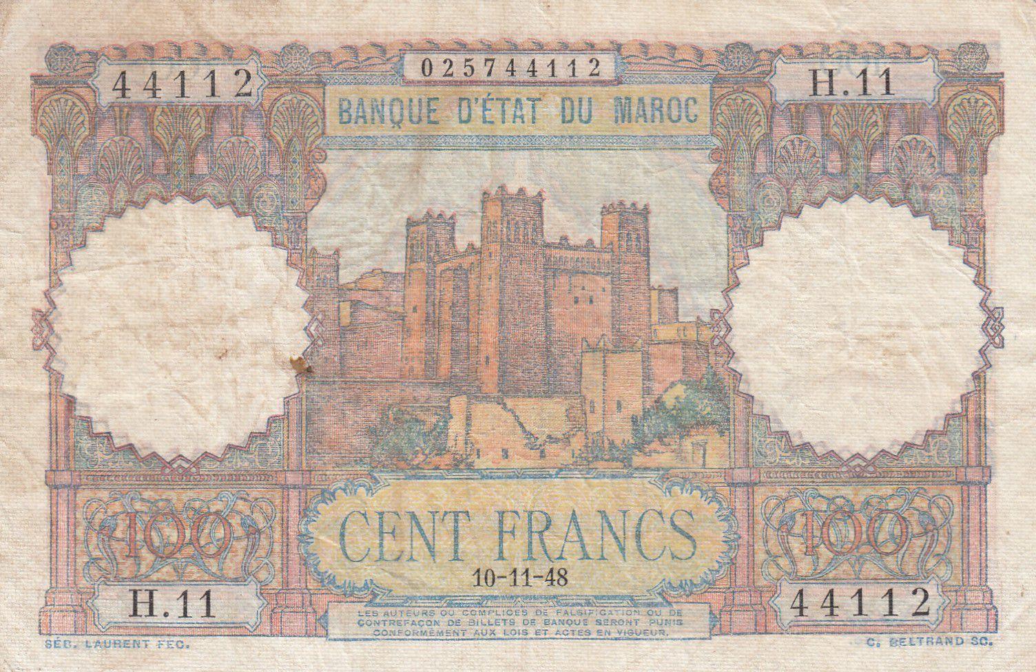 Maroc 100 Francs - Ksar d\'Aït-ben-haddou - 10-11-1948 - TTB - Série H.11 - P.45