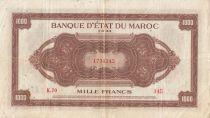 Maroc 1000 Francs Marron, Impr Américaine - 01-08-1943 - Série K.70