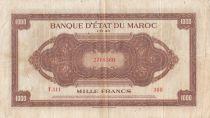 Maroc 1000 Francs Marron, Impr Américaine - 01-08-1943 - Série T.111