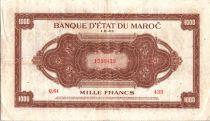 Maroc 1000 Francs Marron, Impr Américaine - 01-08-1943