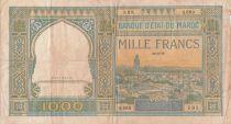 Maroc 1000 Francs Vue de la ville de Marrakech - 26-02-1949 - TB - Série Q.889 - P.16c