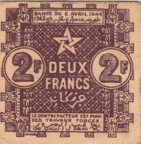 Maroc 2 Francs, Empire Cherifien - 06.04.1944 - TTB - P.43