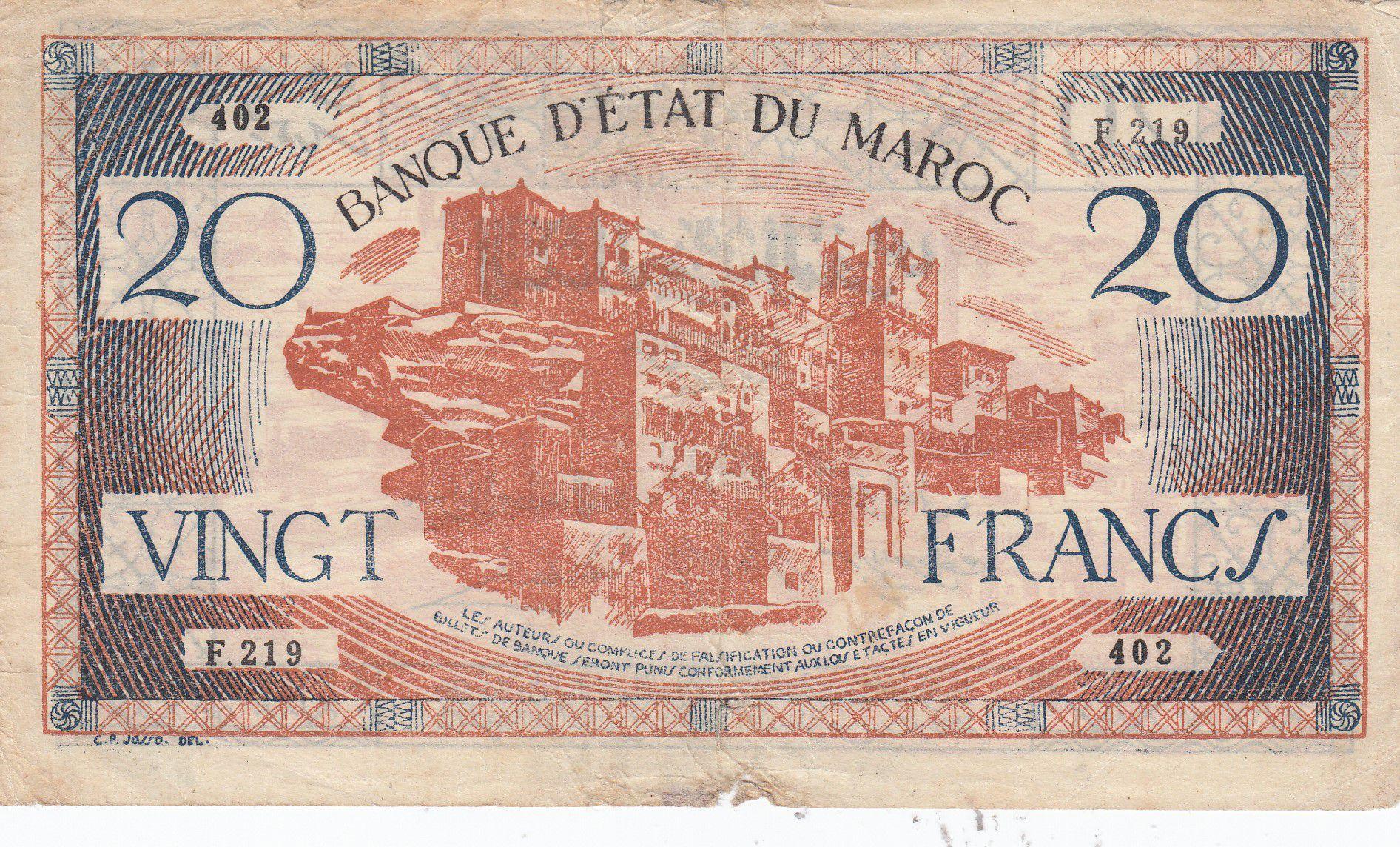 Maroc 20 Francs - 1943 - TB - Série F.219 - P.39