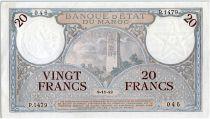 Maroc 20 Francs Minaret - 08-11-1942  - SUP+ - P.1479