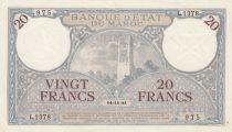 Maroc 20 Francs Minaret - 14-11-1941  -  SUP- Série L.1378 - P.18b