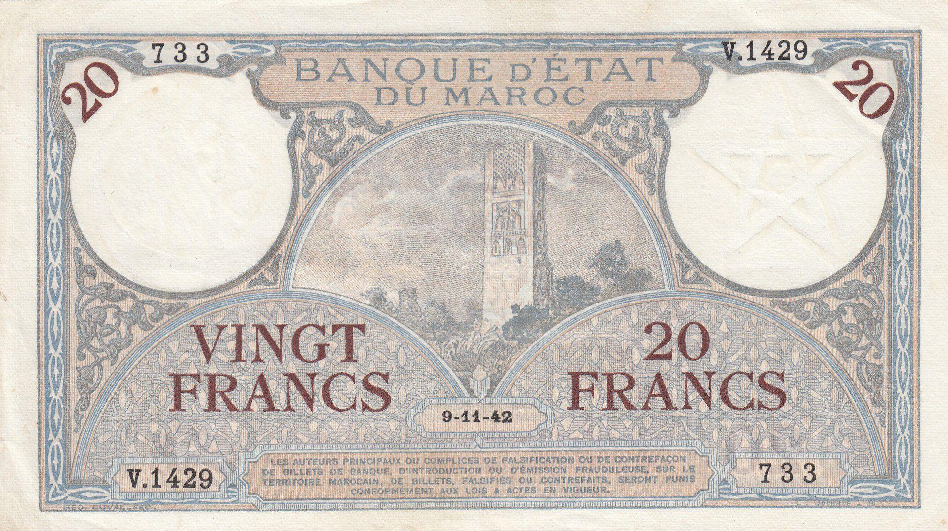 Maroc 20 Francs Minaret - 14-11-1941  -  TTB + - Série V.1429 - P.18b