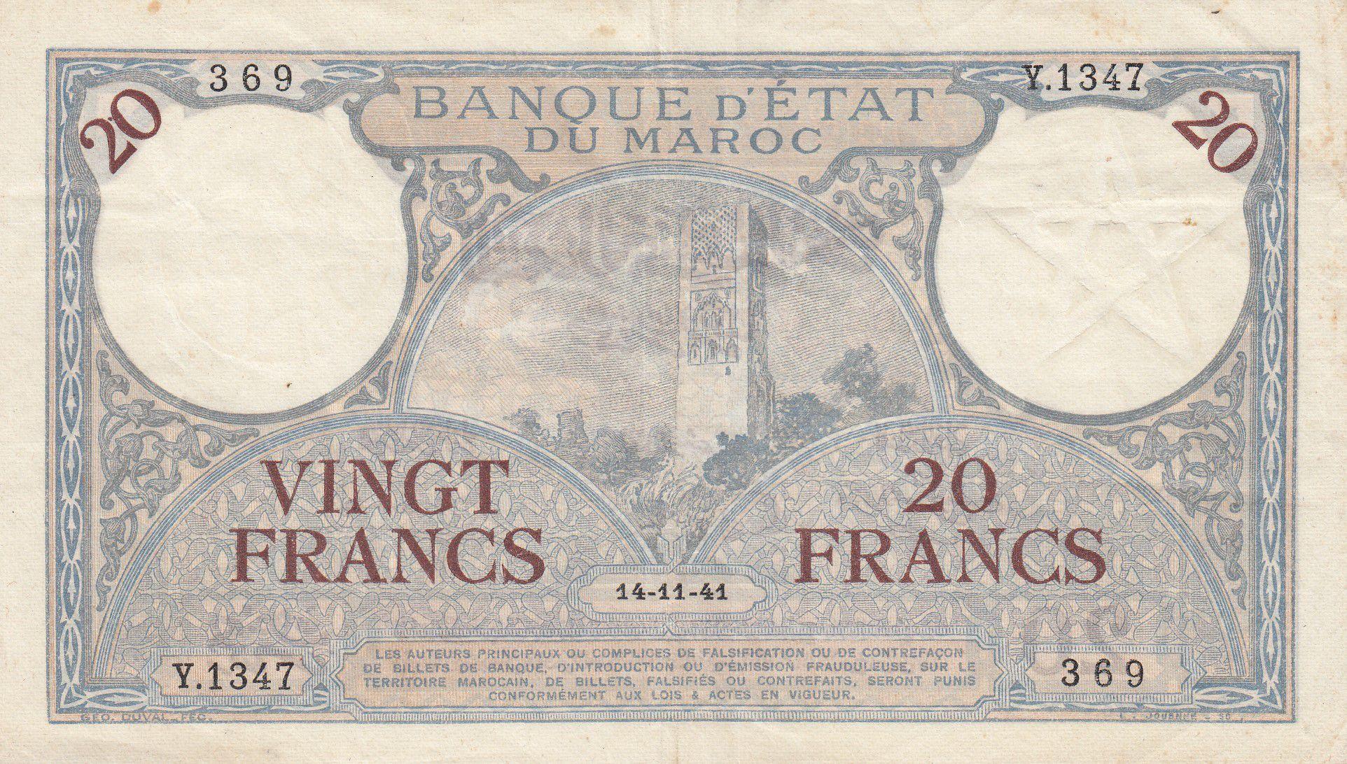 Maroc 20 Francs Minaret - 14-11-1941  -  TTB + - Série Y.1347 - P.18b