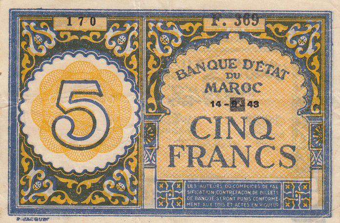 Maroc 5 Francs - 14-09-1943 - SUP - P.33 Série F.369