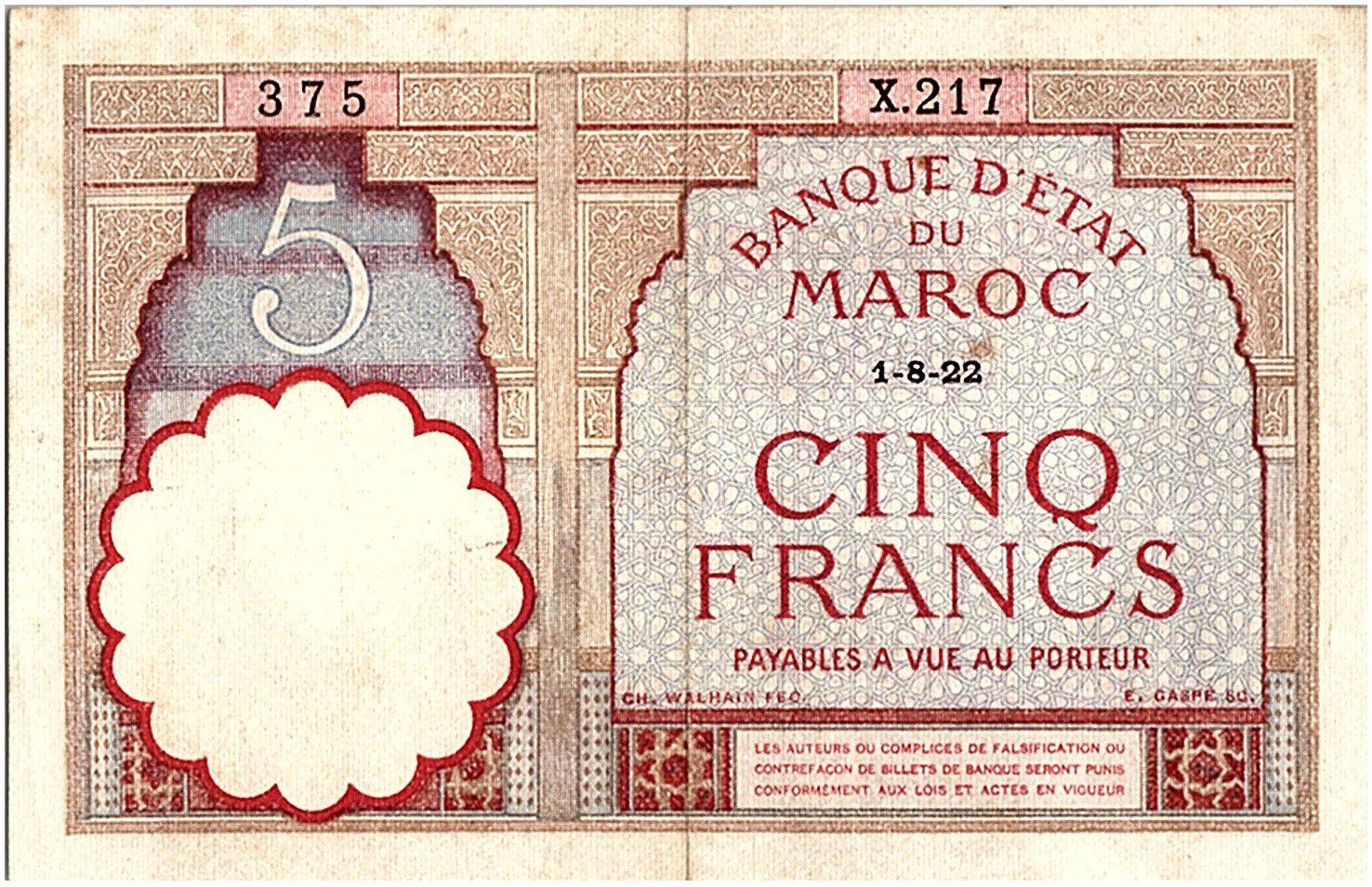 Maroc 5 Francs 01-08-1922 - TTB  - Série X.217 - P.23Aa