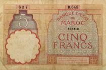 Maroc 5 Francs 14-11-1941 - PTB