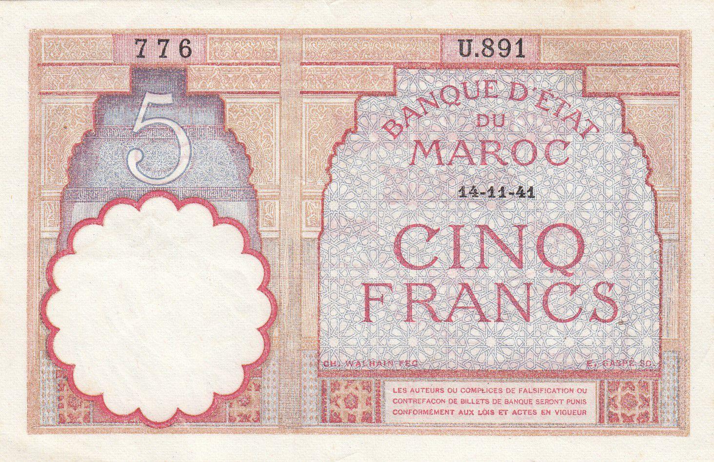 Maroc 5 Francs 14-11-1941 - SUP- Série U.891 - P.23Ab