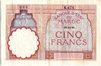 Maroc 5 Francs 14-11-1941 - TTB  - Série K.474 - P.23Ab