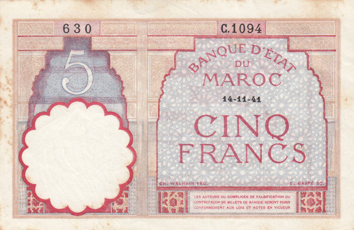 Maroc 5 Francs 14-11-1941 - TTB - Série C.1094 - P.23Ab