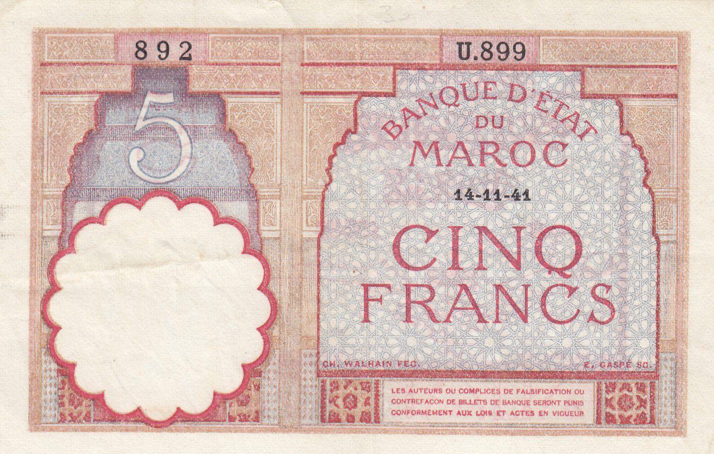 Maroc 5 Francs 14-11-1941 - TTB - Série U.899 - P.23Ab